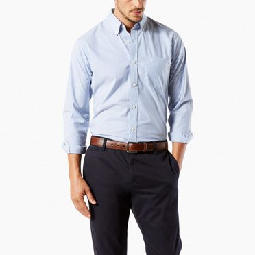NO WRINKLE SHIRT, STANDARD FIT | BLUE/WHITE CHECK | Dockers ...